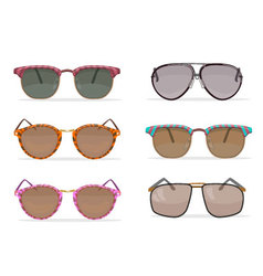 Old school sunglasses set vector image vector image