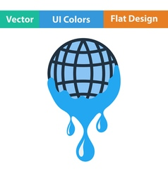 Planet with flowing down water icon vector image