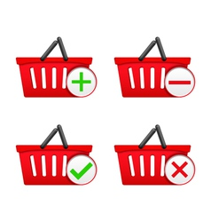 Shopping Basket with Icons vector image