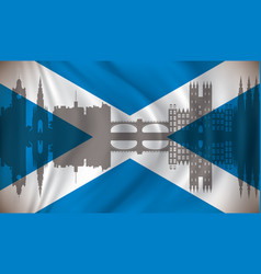 flag of scotland with edinburgh skyline vector image vector image