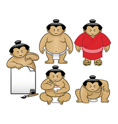 sumo character collection set vector image vector image