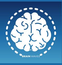 White brain icon design on colorful backdrop vector