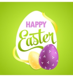 Easter poster with realistic eggs on colorful vector image vector image