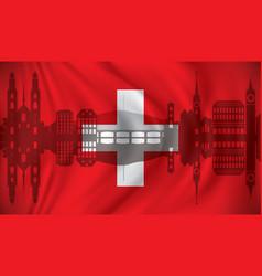 flag of switzerland with zurich skyline vector image