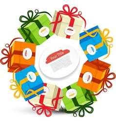 Gift Boxes in Circles Present Box Set Isolated on vector image