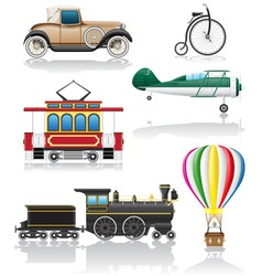 Set icons old retro transport vector