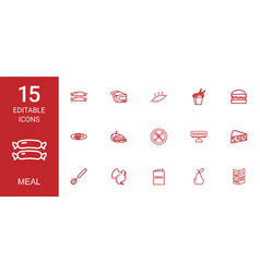 15 meal icons vector
