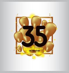 35 year anniversary black gold balloon template vector