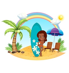 A girl at the beach with her blue surfing board vector image