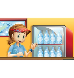 A girl near a fridge with bottles of soda vector