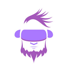 a man with purple hair wearing vr glasses vector image