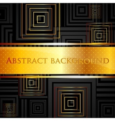 Abstract black background with golden squares vector