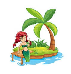 An island with a mermaid vector image