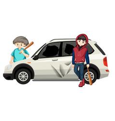 Bad teenagers destoyed car vector