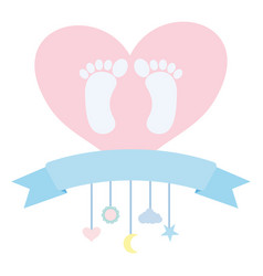 Bafoot prints in heart love and mobile hanging vector