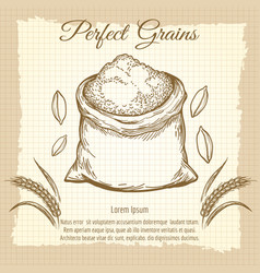 Bag of wheat flour vintage poster vector
