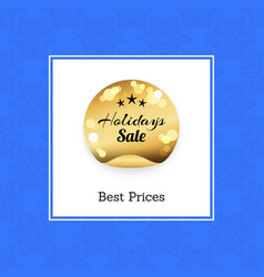 best prices holidays sale golden round label stars vector image