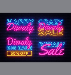 big collection neon signs for diwali festival vector image