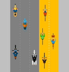 bikers and cyclists group top view vector image