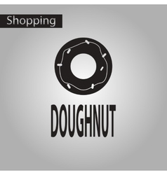 Black and white style icon donut vector