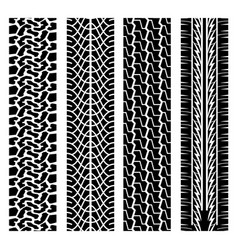Black tire track set 3 vector