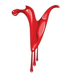 Bloody V letter vector image