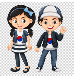 boy and girl wearing shirts with south korea flag vector image
