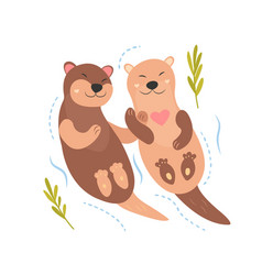 bright card with cute otters in love vector image