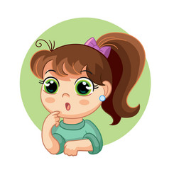 cartoon surprised girl face emotion vector image