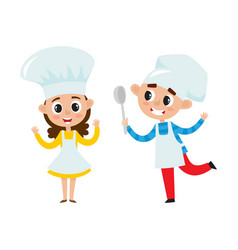 Chefs kids in uniform in restaurant kitchen vector