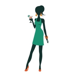 Chic party girl posing with cocktail vector image