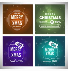 christmas card with snow background set vector image