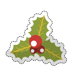 christmas leafs decorative icon vector image