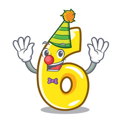 clown number six isolated on the mascot vector image
