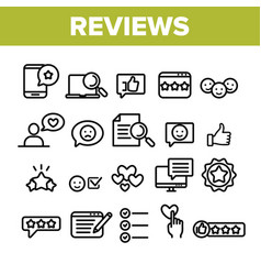 Collection reviews thin line icons set vector