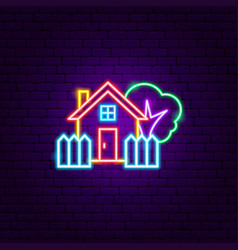 coutryside house neon sign vector image