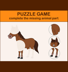 Cute horse cartoon complete the puzzle vector