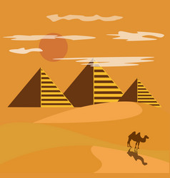 egypt desert with piramid vector image