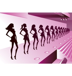 Fashion models represent new clothes on review vector image