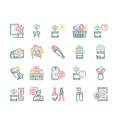 flowers symbols color linear icon set vector image