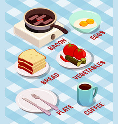 food cooking isometric composition vector image