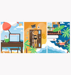 freelance during summer vacation poster vector image