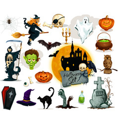 Full set of Halloween characters and elements vector