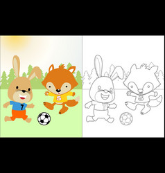 Funny animals cartoon playing soccer coloring vector