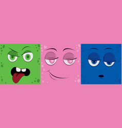 funny cartoon monster face vector image