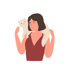 girl and cat flat woman vector image