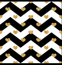 gold heart seamless pattern black-white geometric vector image