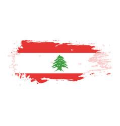 grunge brush stroke with lebanon national flag vector image