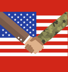 handshake businessman and soldier vector image