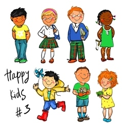 Happy Kids - part 3 Hand drawn clip-art vector